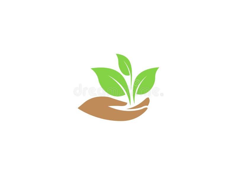 Blätter in der Hand für Pflanzenpflege für Logo stock abbildung