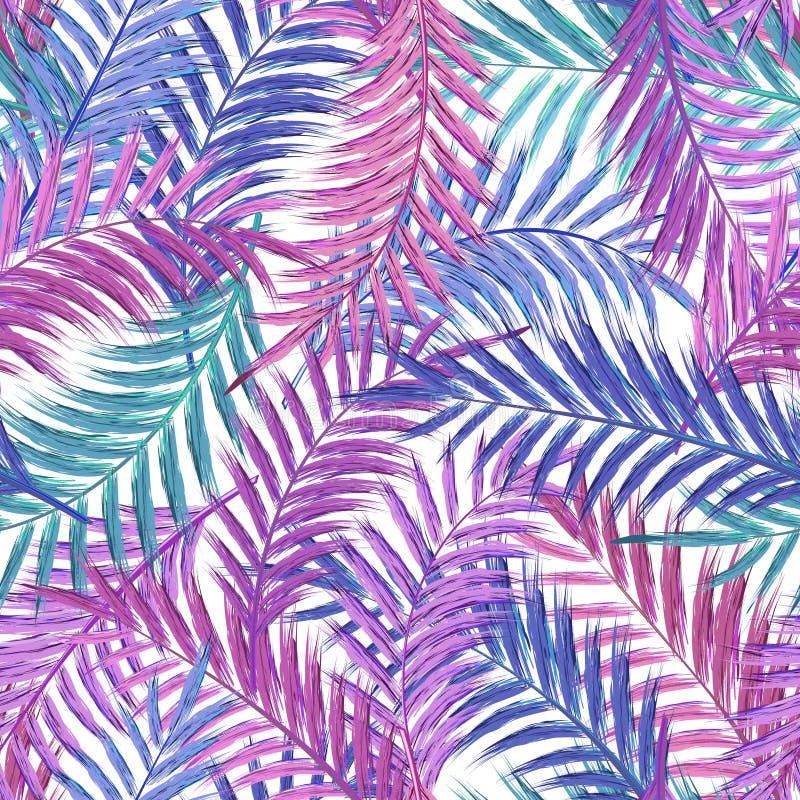 Blätter der Palme Nahtloses Muster Palmblatt im Veilchen auf weißem Hintergrund Tropische Baumblätter lizenzfreie abbildung