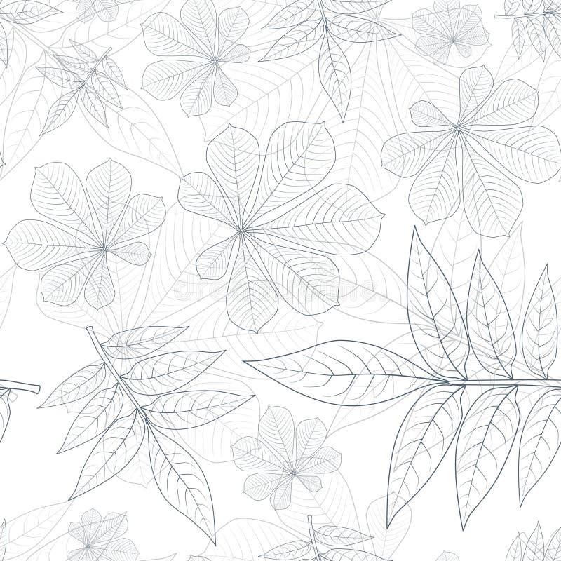 Blätter silhouettieren nahtloses Muster lizenzfreie abbildung