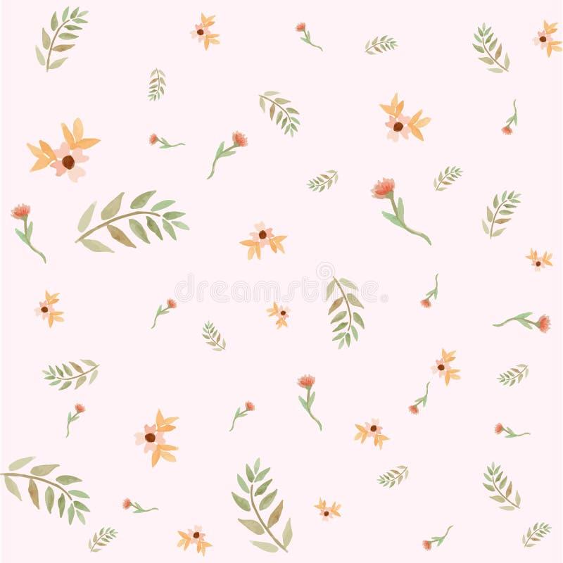 Blätter und Blumenfrühlings-Muster stockfoto