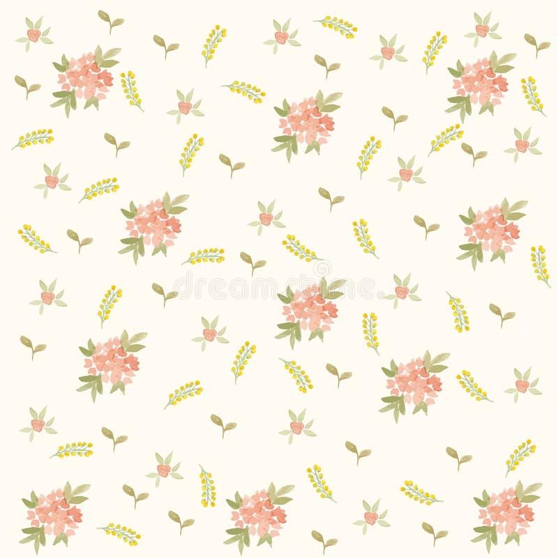 Blätter und Blumenfrühlings-Muster stockbilder