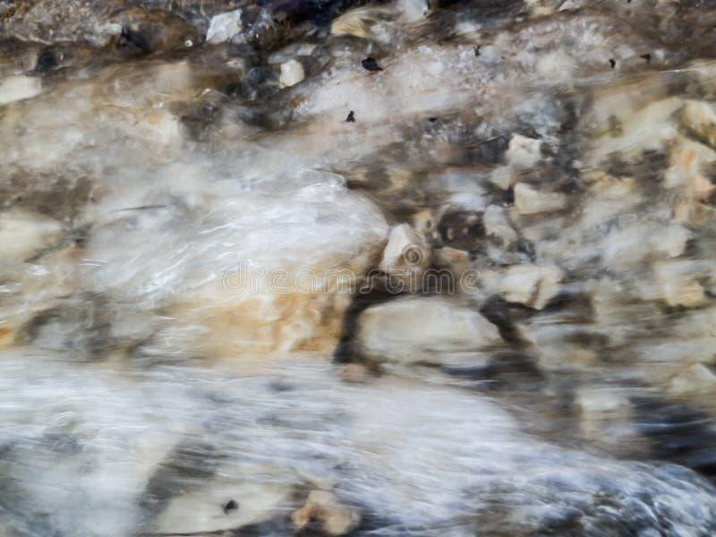 Blätter und Felsen trugen entlang durch Wasser von geschmolzenem Schnee lizenzfreie stockfotos