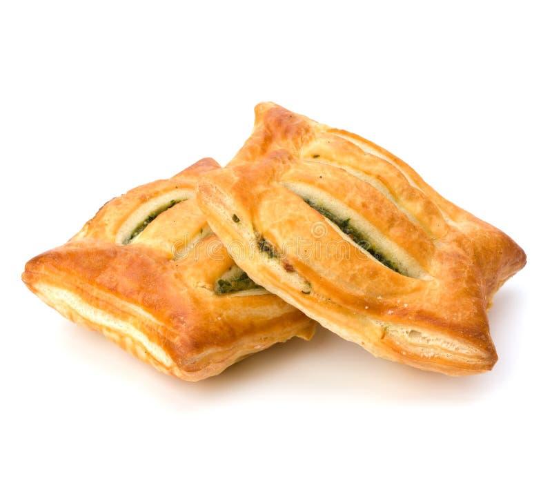 Blätterteig. Gesunde Pastete mit Spinat. lizenzfreies stockfoto