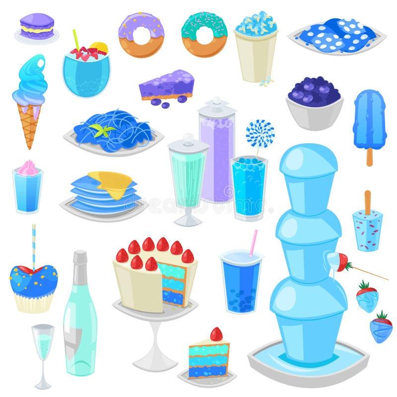 Bläulicher Kuchen des blauen Lebensmittelvektors mit Blaubeere und Süßspeise mit cyan-blauem Satz der bläulichen Getränkillustrat vektor abbildung