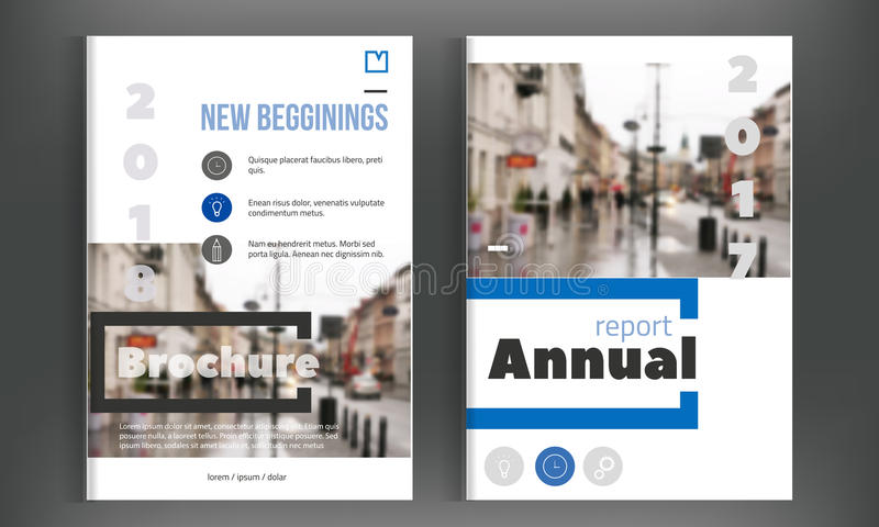 Blå årsrapportdesign Mall för broschyrbroschyrreklamblad Design Enkel bokomslagorientering , presentation stock illustrationer
