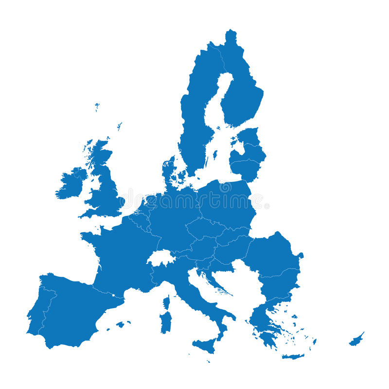 Blå översikt av europeisk union stock illustrationer