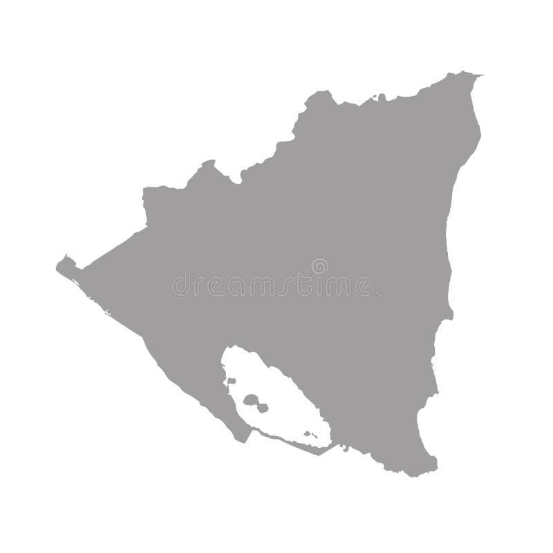 Blå översikt av Nicaragua vektor illustrationer