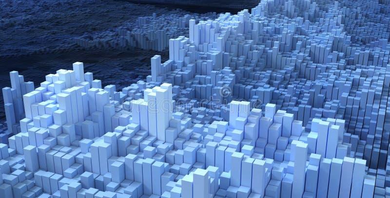 blå abstrakt askteknologibakgrund, tolkning 3d royaltyfri illustrationer