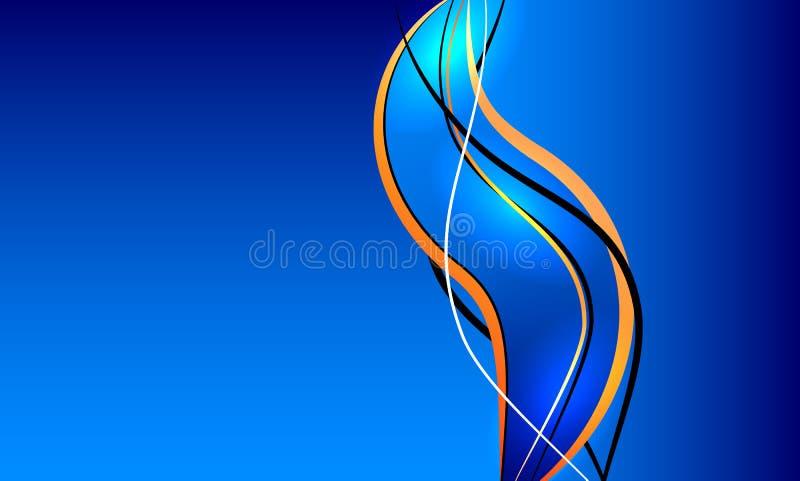 Blå abstrakt bakgrund med flödande linjer stock illustrationer