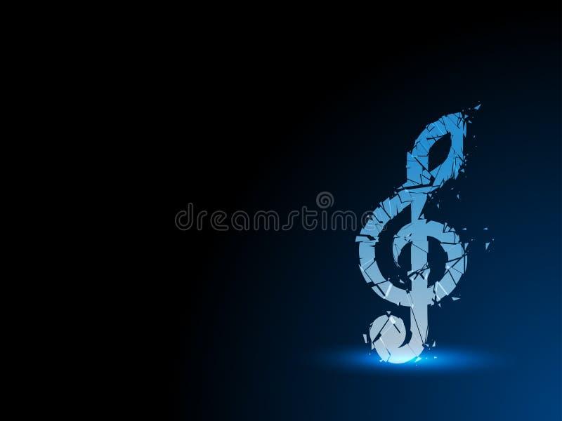 Blå abstrakt bakgrund splittrad musikalisk anmärkning royaltyfri illustrationer