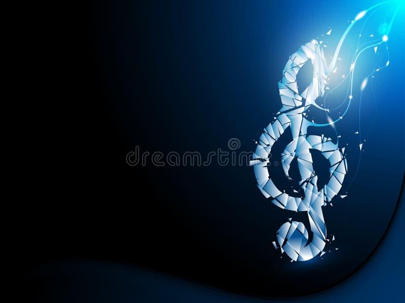 Blå abstrakt bakgrund splittrad musikalisk anmärkning stock illustrationer