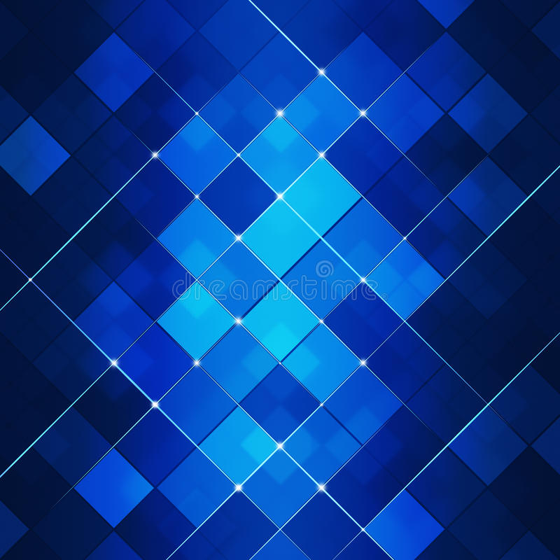 Blå abstrakt begreppfyrkant Dot Tech Background royaltyfri illustrationer