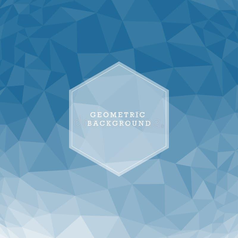 Blå abstrakt geometrisk rufsad till triangulär låg poly bakgrund för diagram för stilvektorillustration stock illustrationer