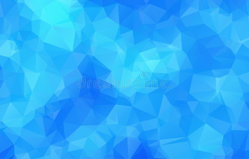 Blå abstrakt geometrisk rufsad till triangulär låg poly stil stock illustrationer