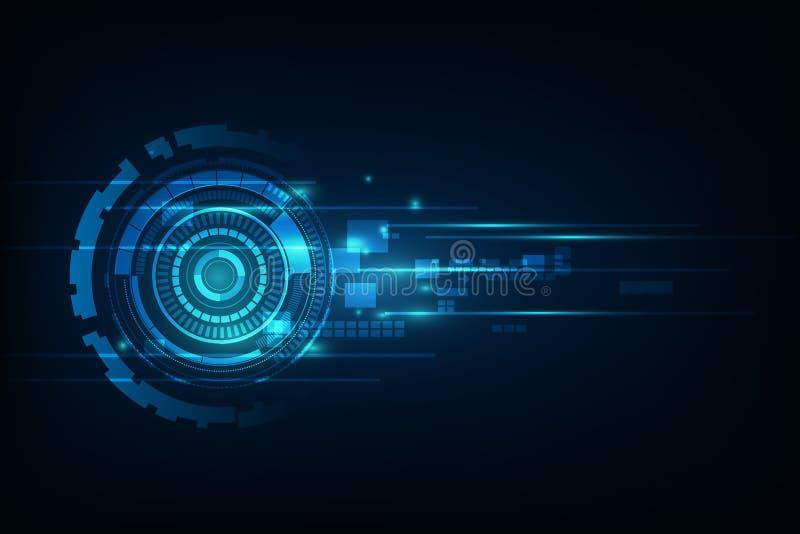 Blå abstrakt hög illustrati för bakgrund för hastighetsinternetteknologi stock illustrationer