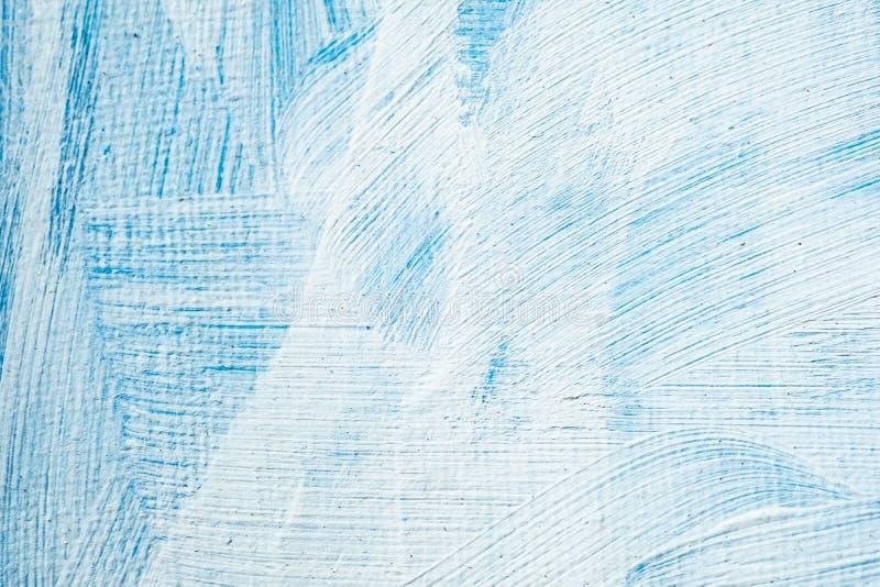 Blå abstrakt hand målad kanfasbakgrund, textur Färgrik texturerad bakgrund fotografering för bildbyråer