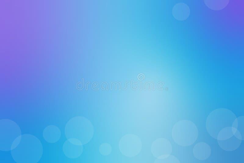 Blå abstrakt lutningbakgrund med ljusa vita cirklar vektor royaltyfri illustrationer