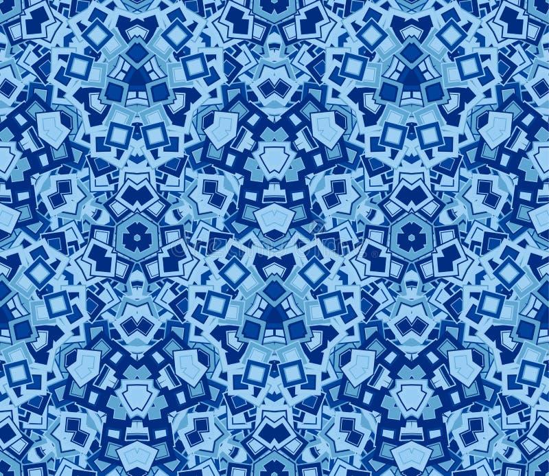 Blå abstrakt sömlös modell, bakgrund Komponerat av kulöra geometriska former royaltyfri illustrationer