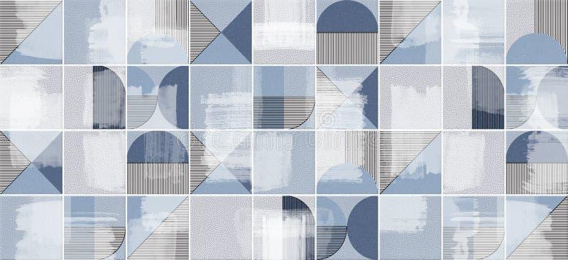 Blå abstrakt textur för mosaiktegelplatta royaltyfri bild