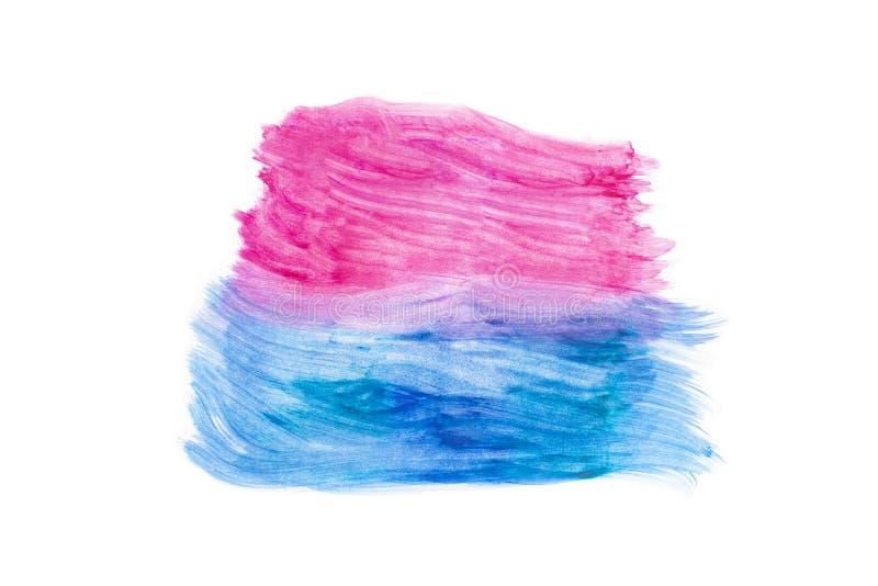Blå abstrakt vattenfärg och rosa texturkonsthand som målas på vit bakgrund arkivfoto