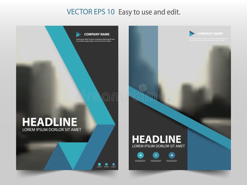 Blå abstrakt vektor för mall för design för triangelbroschyrårsrapport Affisch för tidskrift för affärsreklamblad infographic vektor illustrationer