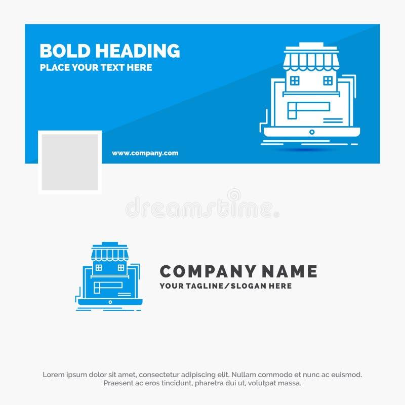Blå affär Logo Template för affären, marknadsplats, organisation, data, online-marknad Design f?r Facebook Timelinebaner vektor royaltyfri illustrationer