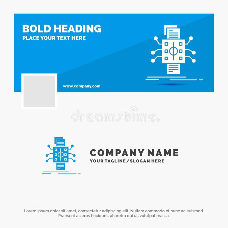 Blå affär Logo Template för analys, data, utgångspunkt och att bearbeta som anmäler Design f?r Facebook Timelinebaner reng?ringsd stock illustrationer