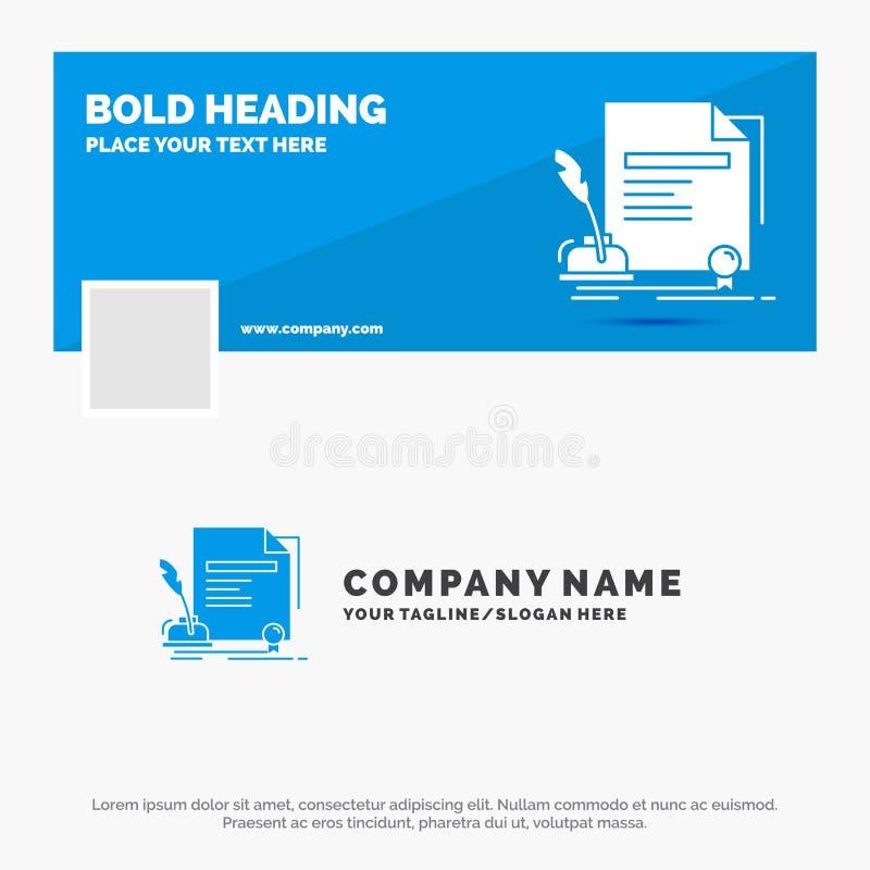 Blå affär Logo Template för avtalet, papper, dokument, överenskommelse, utmärkelse Design f?r Facebook Timelinebaner reng?ringsdu royaltyfri illustrationer