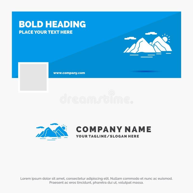 Blå affär Logo Template för berget, kulle, landskap, natur, afton Design f?r Facebook Timelinebaner reng?ringsduk f?r vektor f?r  royaltyfri illustrationer