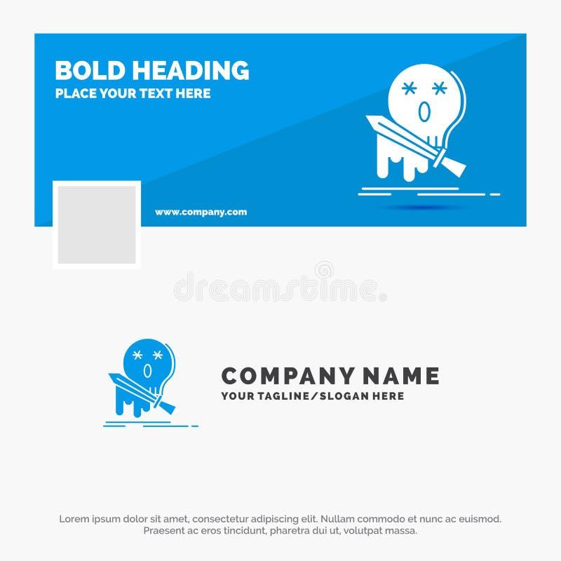 Blå affär Logo Template för död, frag, lek, byte, svärd Design f?r Facebook Timelinebaner bakgrund f?r vektorreng?ringsdukbaner royaltyfri illustrationer