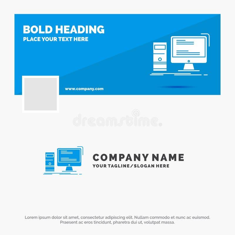 Blå affär Logo Template för datoren, skrivbord, dobbel, PC som är personlig Design f?r Facebook Timelinebaner reng?ringsduk f?r v stock illustrationer