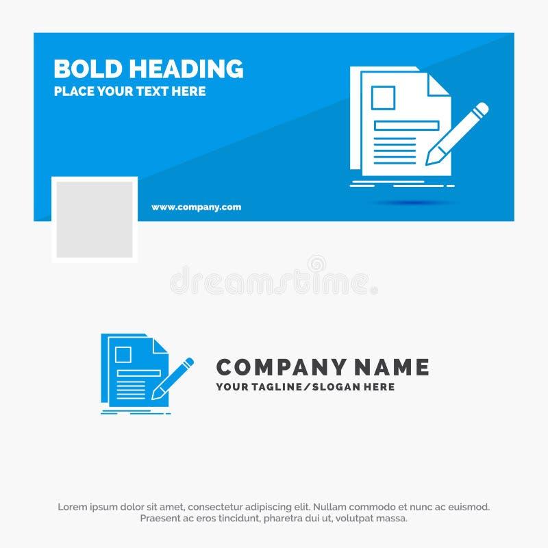 Blå affär Logo Template för dokumentet, mapp, sida, penna, meritförteckning Design f?r Facebook Timelinebaner bakgrund f?r vektor stock illustrationer