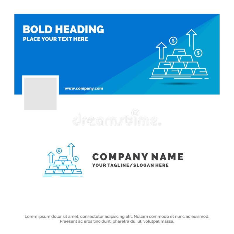 Blå affär Logo Template för guld, mynt, kassa, pengar, tillväxt Design f?r Facebook Timelinebaner bakgrund f?r vektorreng?ringsdu vektor illustrationer