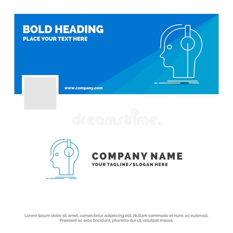 Blå affär Logo Template för kompositören, hörlurar, musiker, producent, ljud Design f?r Facebook Timelinebaner Vektorreng?ringsdu stock illustrationer
