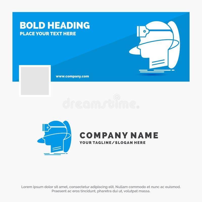 Blå affär Logo Template för människa, man, verklighet, användare som är faktisk, vr Design f?r Facebook Timelinebaner reng?ringsd royaltyfri illustrationer