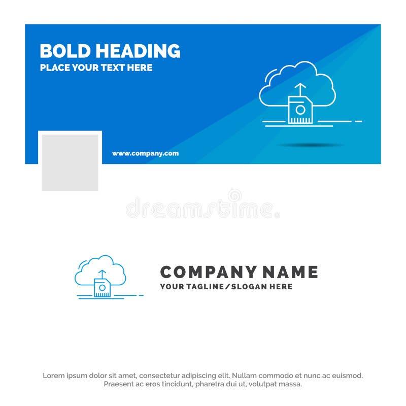 Blå affär Logo Template för moln, att ladda upp, att spara, data som beräknar Design f?r Facebook Timelinebaner reng?ringsduk f?r stock illustrationer