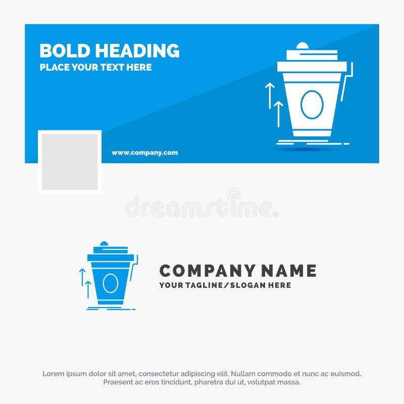 Blå affär Logo Template för produkten, promo, kaffe, kopp, märkesmarknadsföring Design f?r Facebook Timelinebaner reng?ringsduk f royaltyfri illustrationer