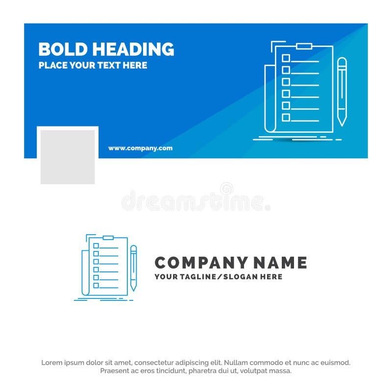 Blå affär Logo Template för sakkunskap, kontrollista, kontroll, lista, dokument Design f?r Facebook Timelinebaner reng?ringsduk f stock illustrationer