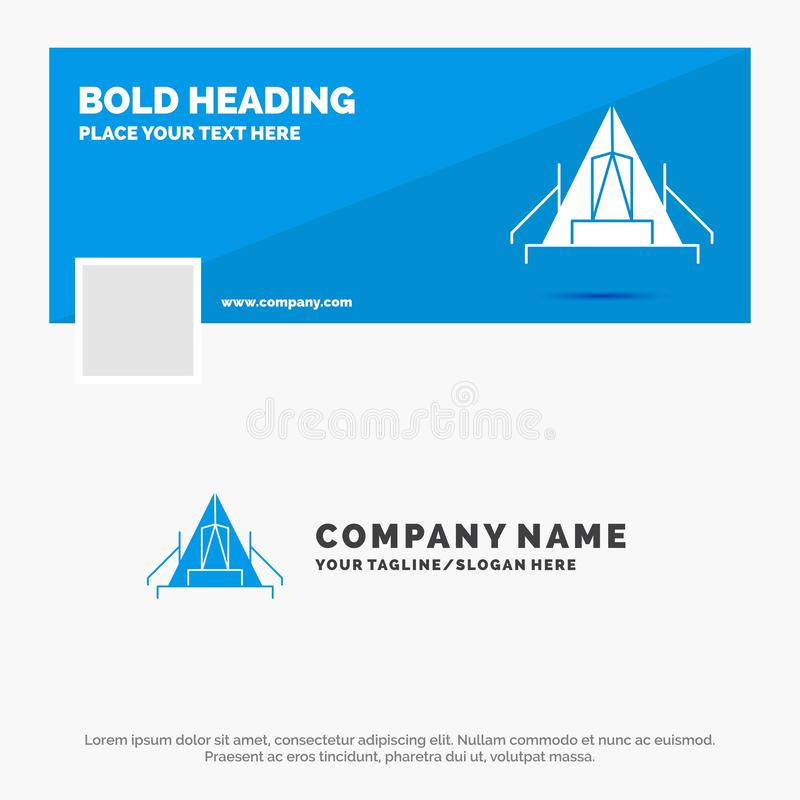 Blå affär Logo Template för tält som campar, läger, campingplats som är utomhus- Design f?r Facebook Timelinebaner reng?ringsduk  vektor illustrationer