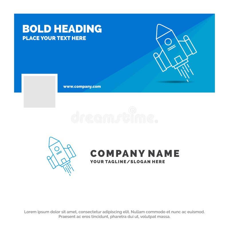 Blå affär Logo Template för utrymmehantverket, anslutning, utrymme, raket, lansering Design f?r Facebook Timelinebaner reng?rings royaltyfri illustrationer