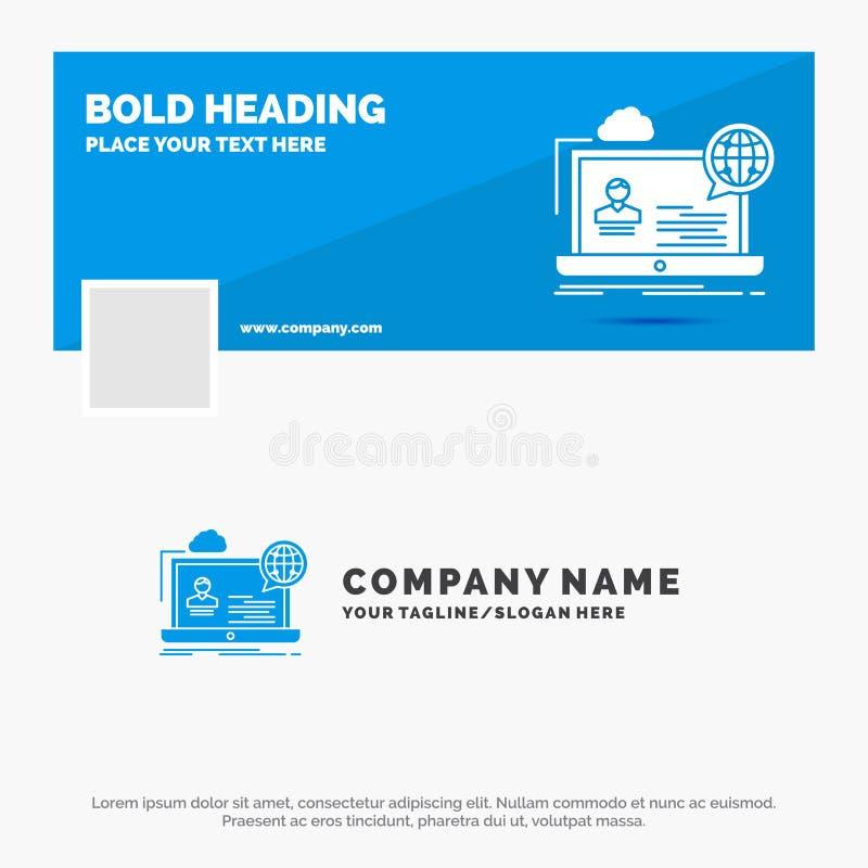 Blå affär Logo Template för webinar, forum som är online-, seminarium, website Design f?r Facebook Timelinebaner reng?ringsduk f? stock illustrationer