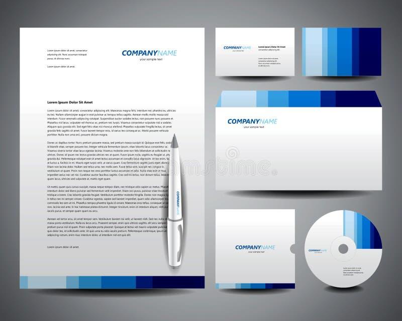blå affärsbrevpappermall stock illustrationer