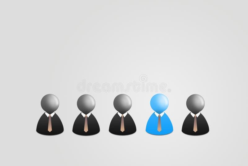 Blå affärsman i grupp av den svarta affärsmannen på grå bakgrund royaltyfri illustrationer