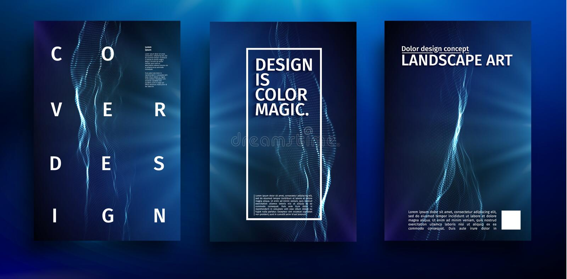 Blå affischdesign Mall för baner för vektor för musikvåg blå färgrikt futuristic för bakgrund Modern färgillustration vektor illustrationer