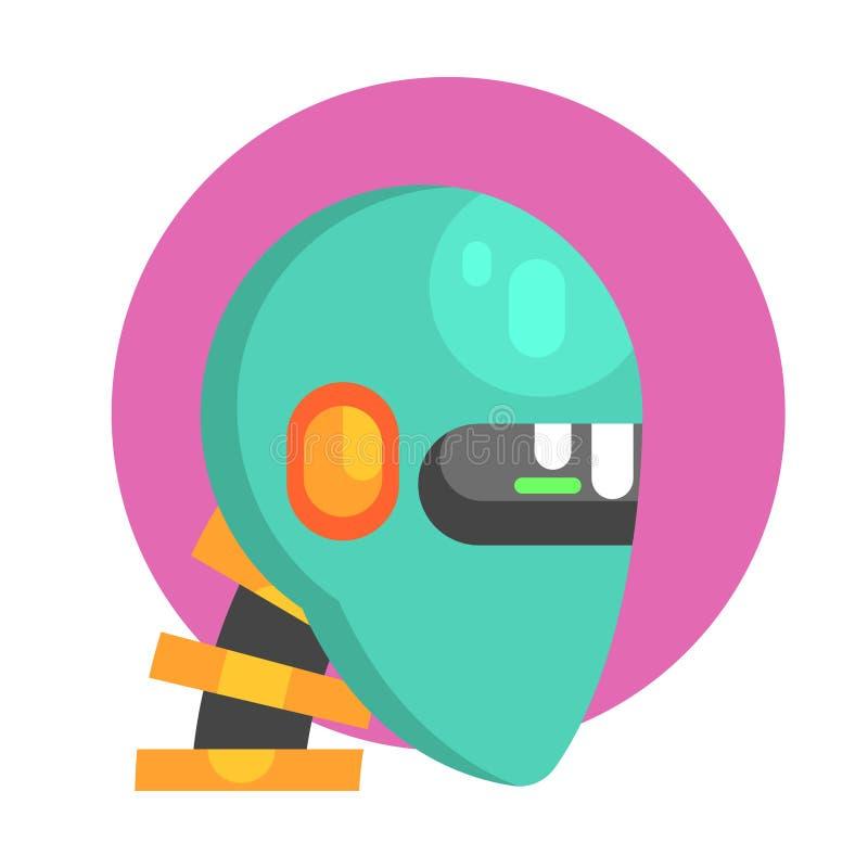 Blå Android huvudstående, del av futuristisk Robotic och IT-vetenskapsserie av tecknad filmsymboler stock illustrationer