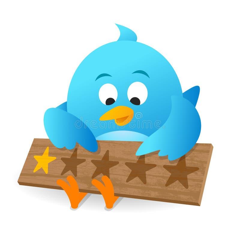 Blå anslagstavla för meddelande för värdering för produkt för fågelkundgranskning royaltyfri illustrationer