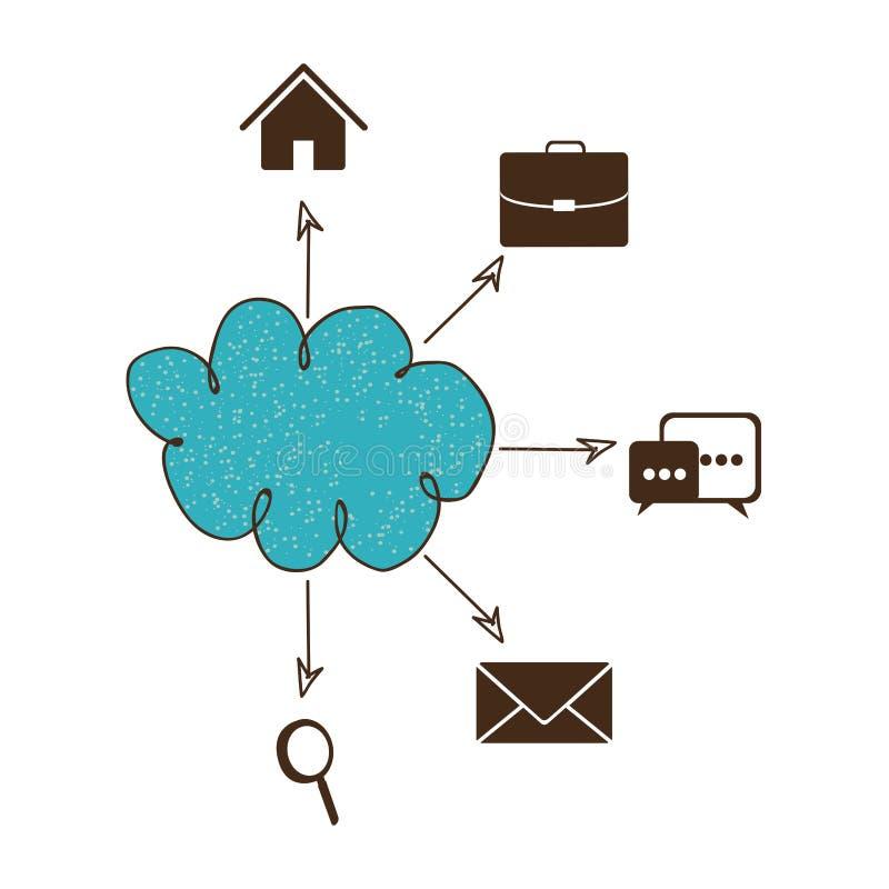 blå anslutning för service för molnsymbolsnätverk royaltyfri illustrationer