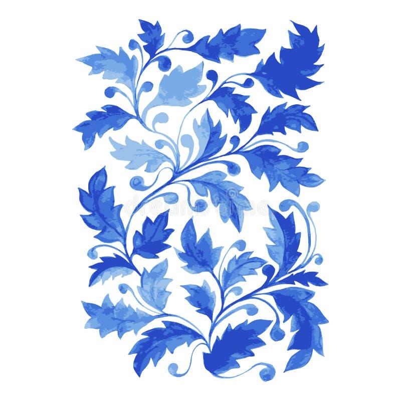 Blå Azulejo affisch, vertikalt vektorkonstverk med vattenfärgsidor, krullning och lövverk stock illustrationer