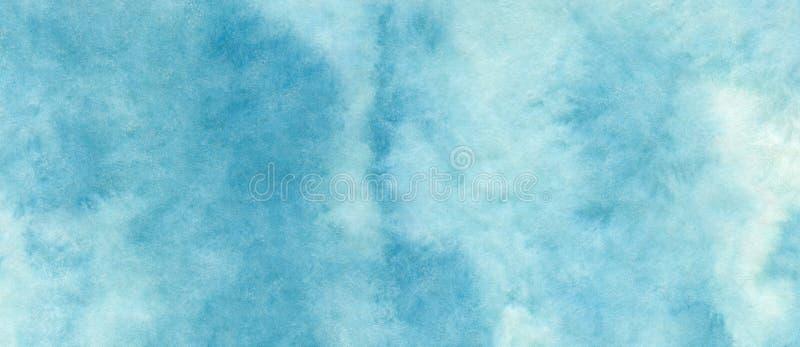 Blå azur abstrakt vattenfärgbakgrund för texturbakgrunder och rengöringsdukbaner planlägger stock illustrationer
