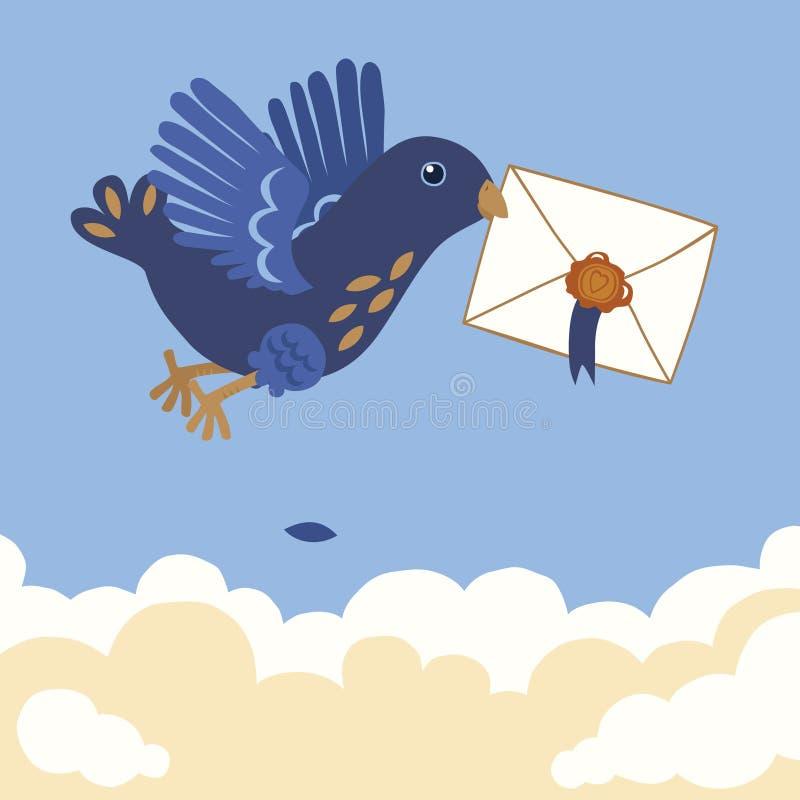 blå bärande bokstav för fågel royaltyfri illustrationer